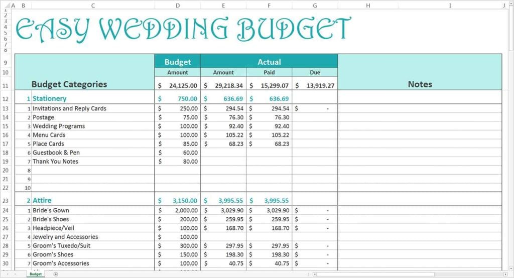 Free Printable Wedding Guest List Spreadsheet
