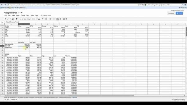 Google Docs Spreadsheet Functions