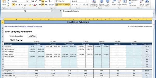 Google Spreadsheet Schedule Template