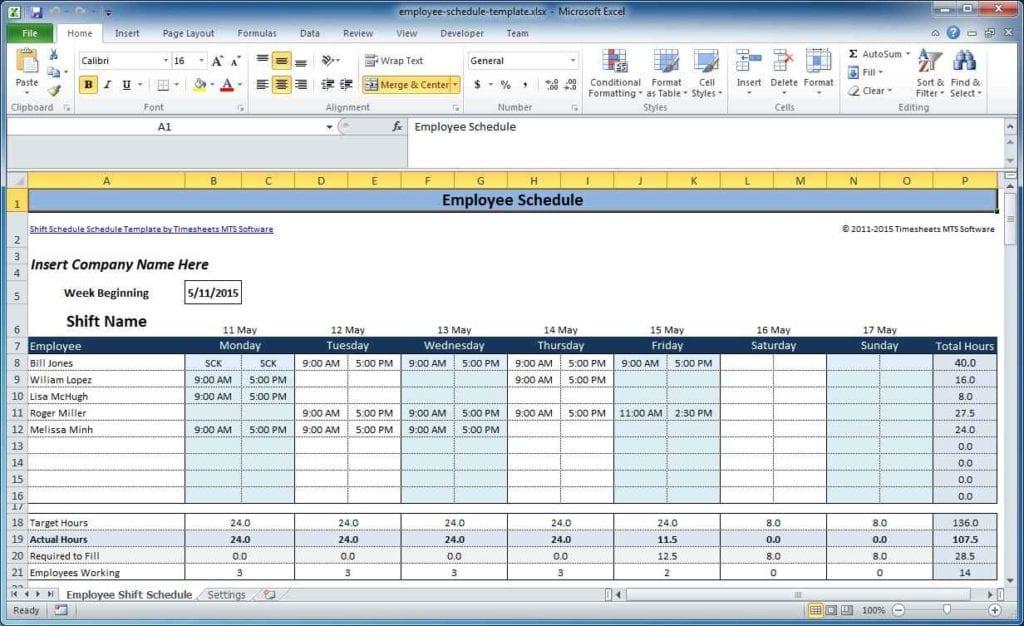 Google Spreadsheet Schedule Template