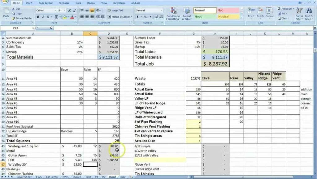 Cost Estimate Spreadsheet Template Spreadsheet Templates