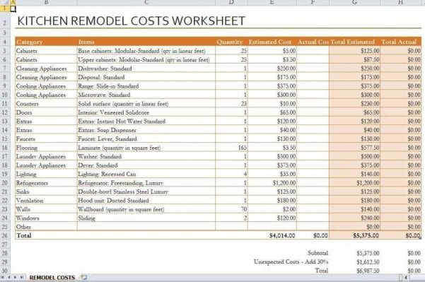 House Renovation Spreadsheet Template Uk