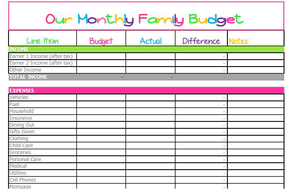 Household Budget Excel Spreadsheet Template