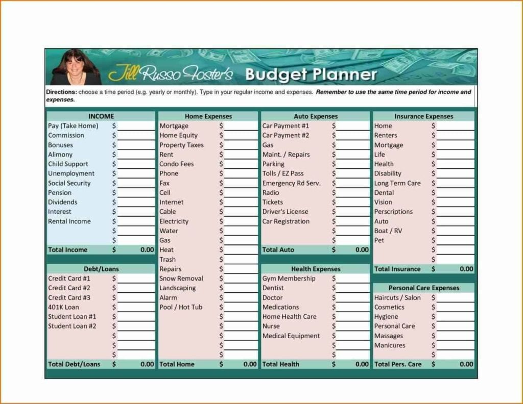 Household Budget Spreadsheet Template Free 3