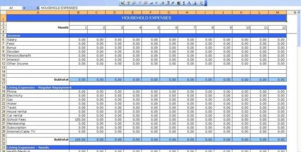 Household Spreadsheet Templates