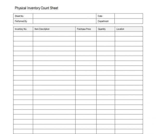 Inventory Control Sheet Template Free