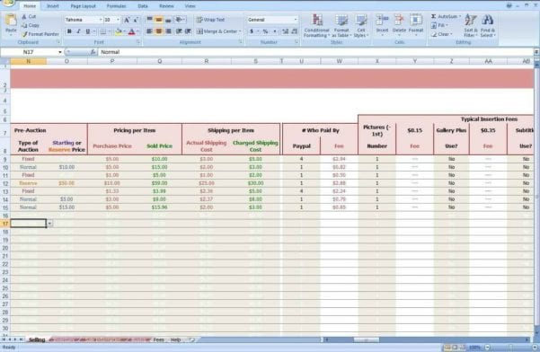 Inventory Sales Spreadsheet Template