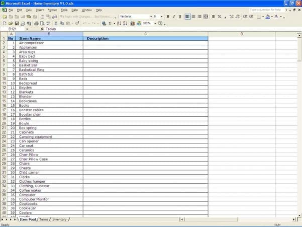 Inventory Sheet Template Free Download