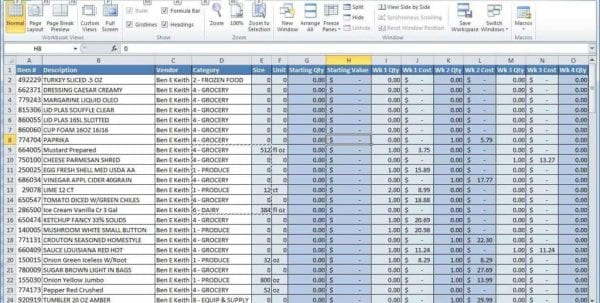 Inventory Spreadsheet Example