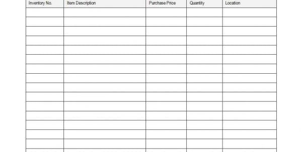 Inventory Spreadsheet Sample