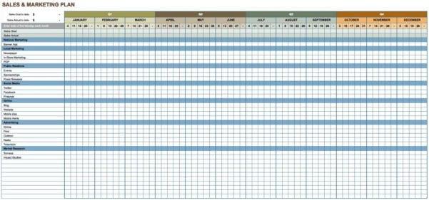 Marketing Plan Spreadsheet Template