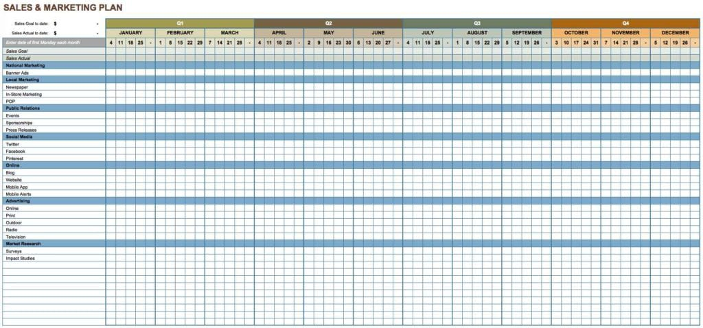 Marketing Plan Spreadsheet Template
