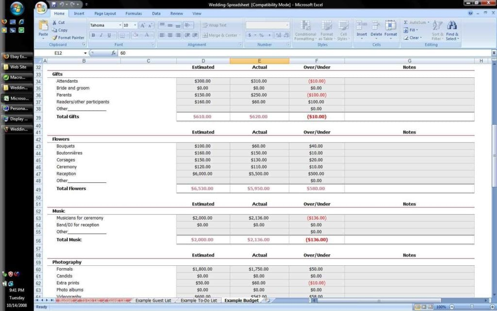 Microsoft Excel Spreadsheet 1