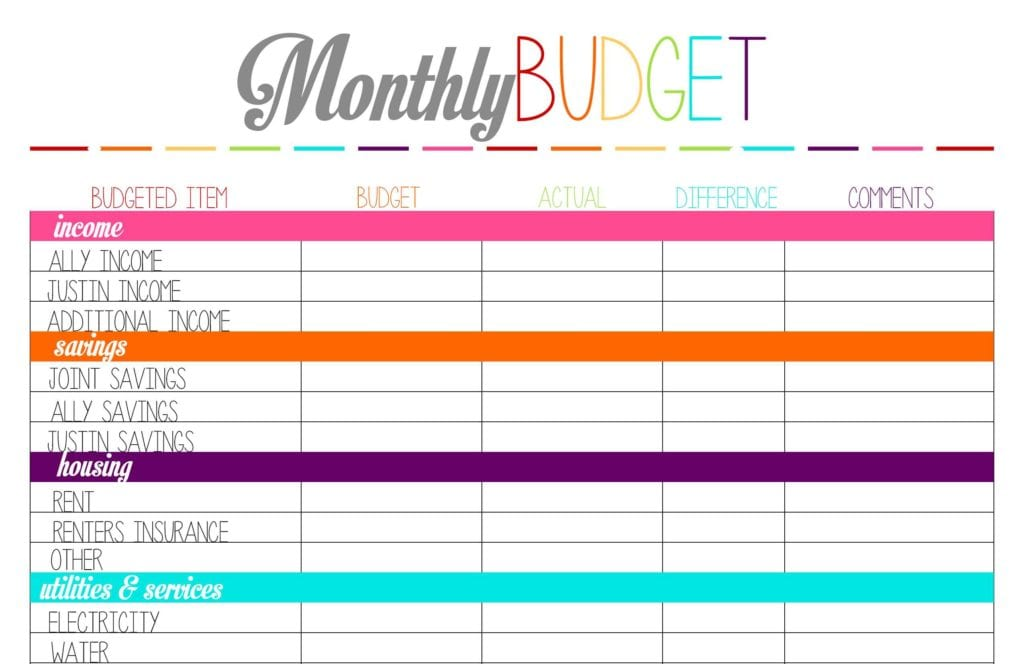 Monthly Bill Spreadsheet Template Free 2