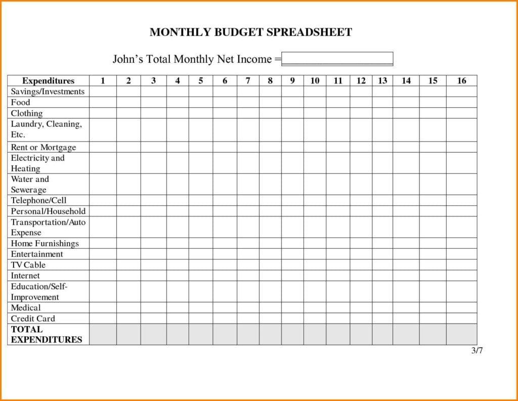 Monthly Bills Spreadsheet Template 3