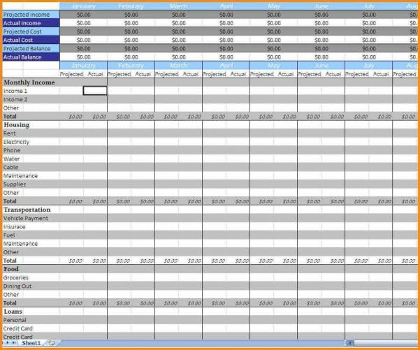 Monthly Bills Spreadsheet Template Excel
