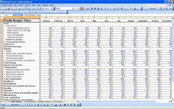 Monthly Budget Excel Spreadsheet Template Free