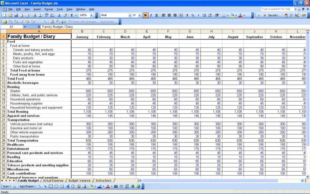 Monthly Budget Excel Spreadsheet Template Free 2
