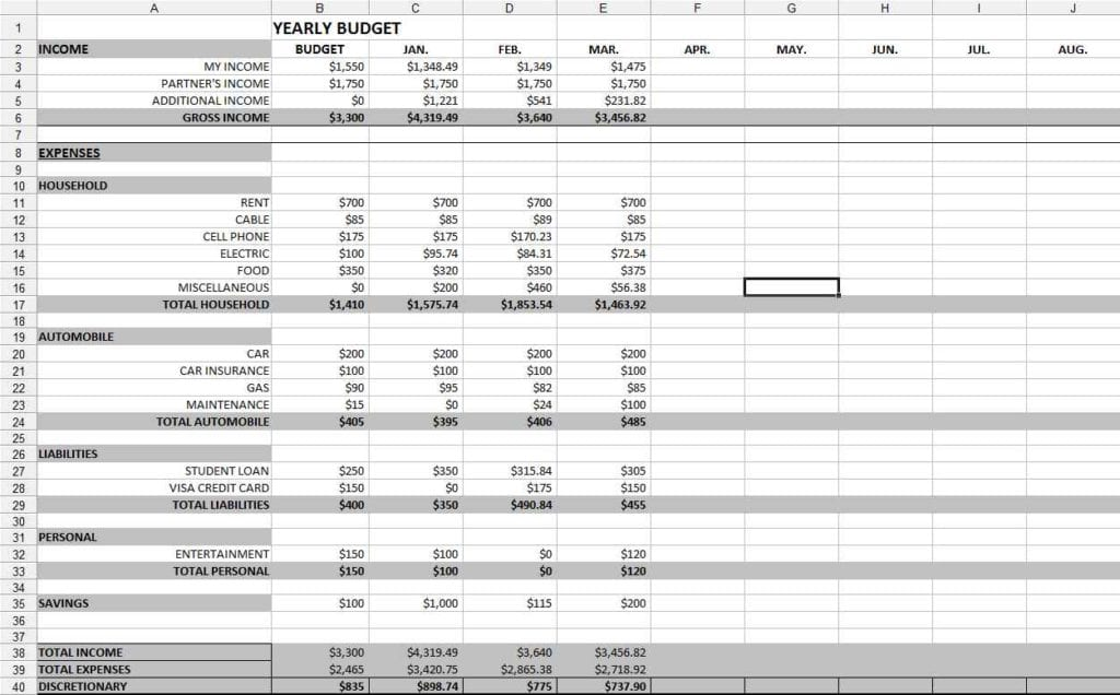 Monthly Budget Spreadsheet Template Excel 1