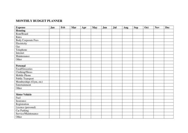 Monthly Budget Spreadsheet Templates