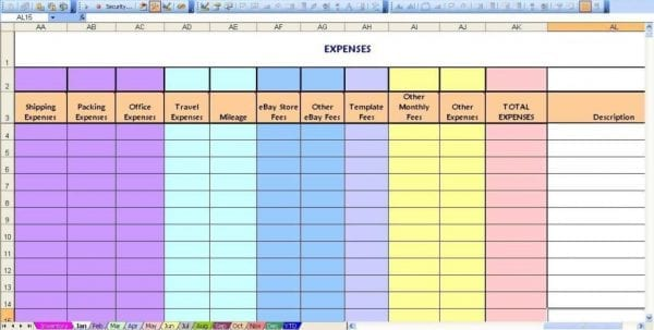 Monthly Business Expense Sheet Template