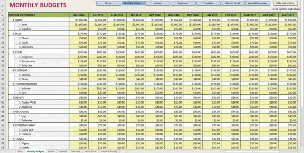 Monthly Expense Report Spreadsheet