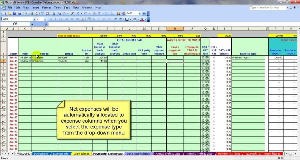 Monthly Expenses Excel Template