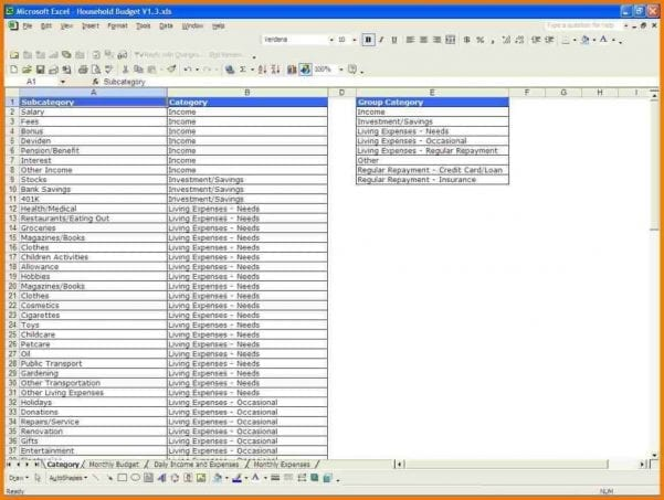 Monthly Expenses Spreadsheet Template Excel1