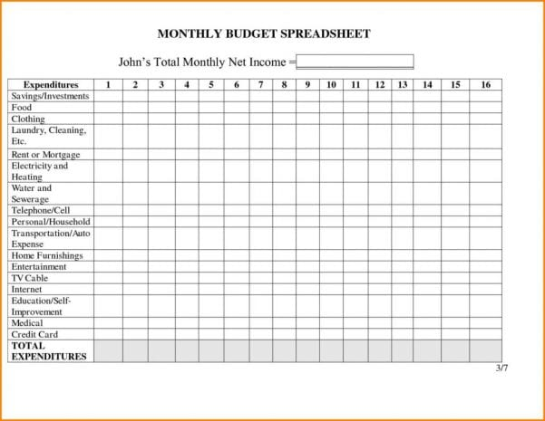 rental property budget template