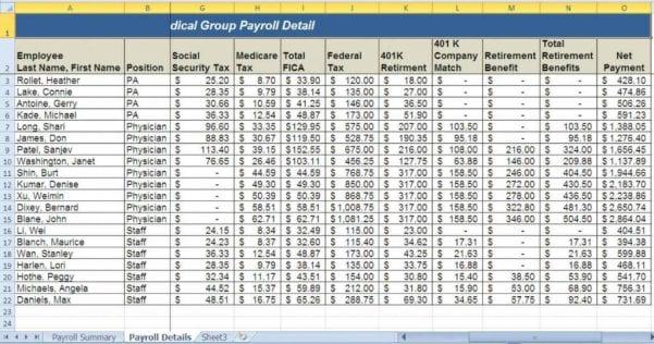 Payroll Budget Spreadsheet