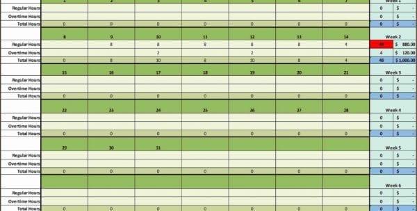 Payroll Calculation Spreadsheet