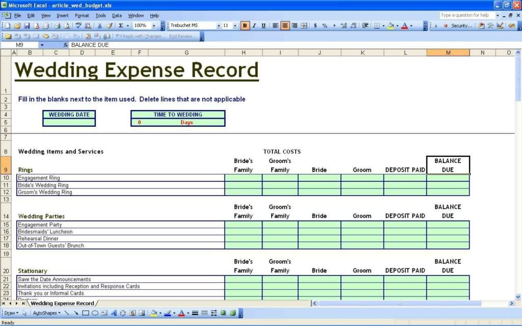 Personal Budget Spreadsheet Excel 1