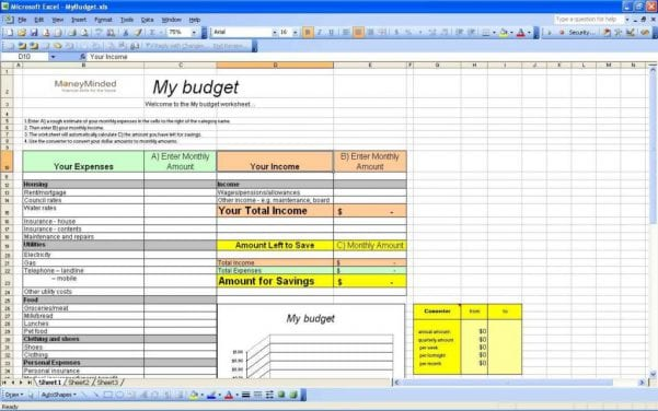 Personal Budget Spreadsheet In Excel