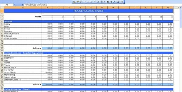 Personal Budget Spreadsheet Template