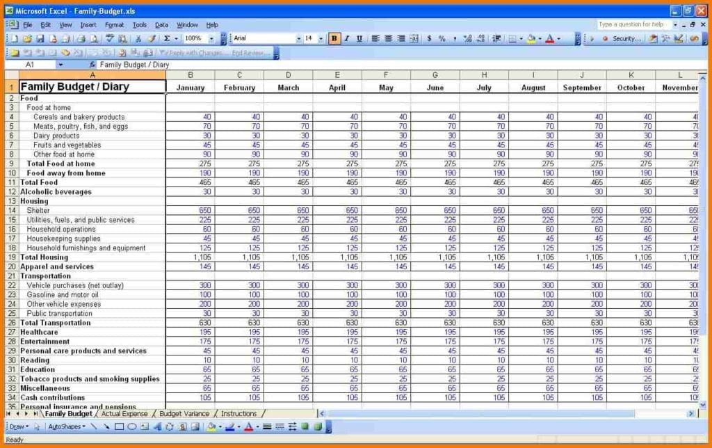 Personal Expenses Spreadsheet Template Excel