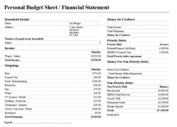 Personal Finance Budget Spreadsheet