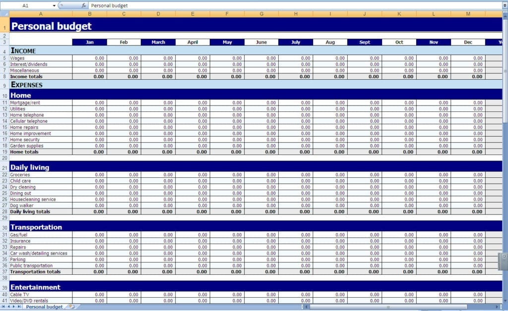 Personal Finance Spreadsheet Example