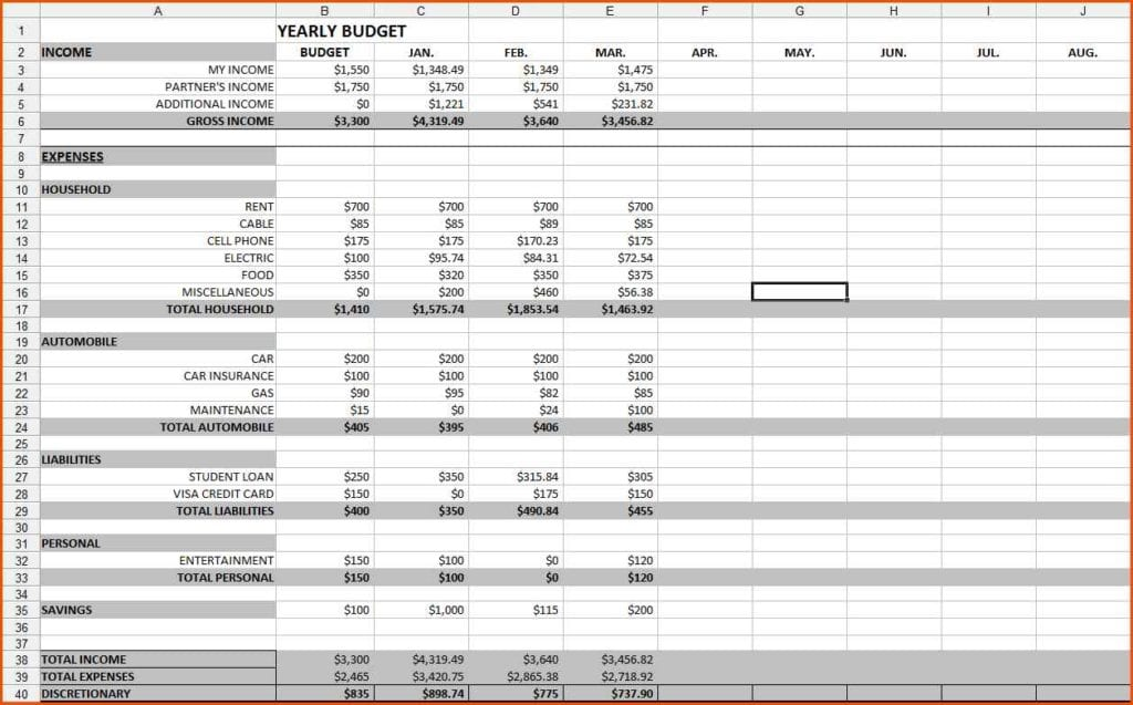 personal financial budget excel worksheet