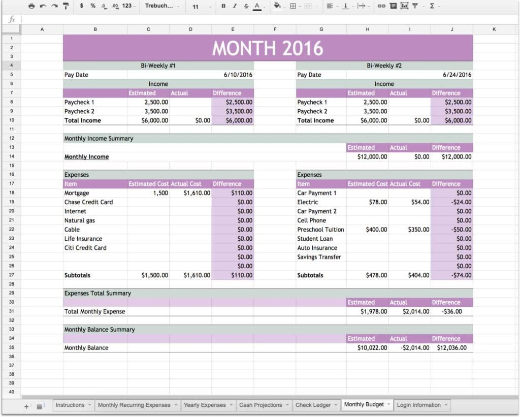 Personal Financial Planning Template Excel1