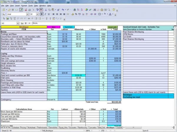 Plumbing Estimating Excel Spreadsheet