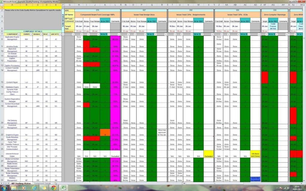 Project Management Sheet Excel