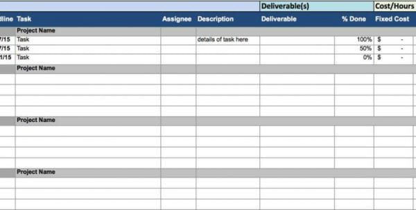 Project Tracking Excel Sheet Download