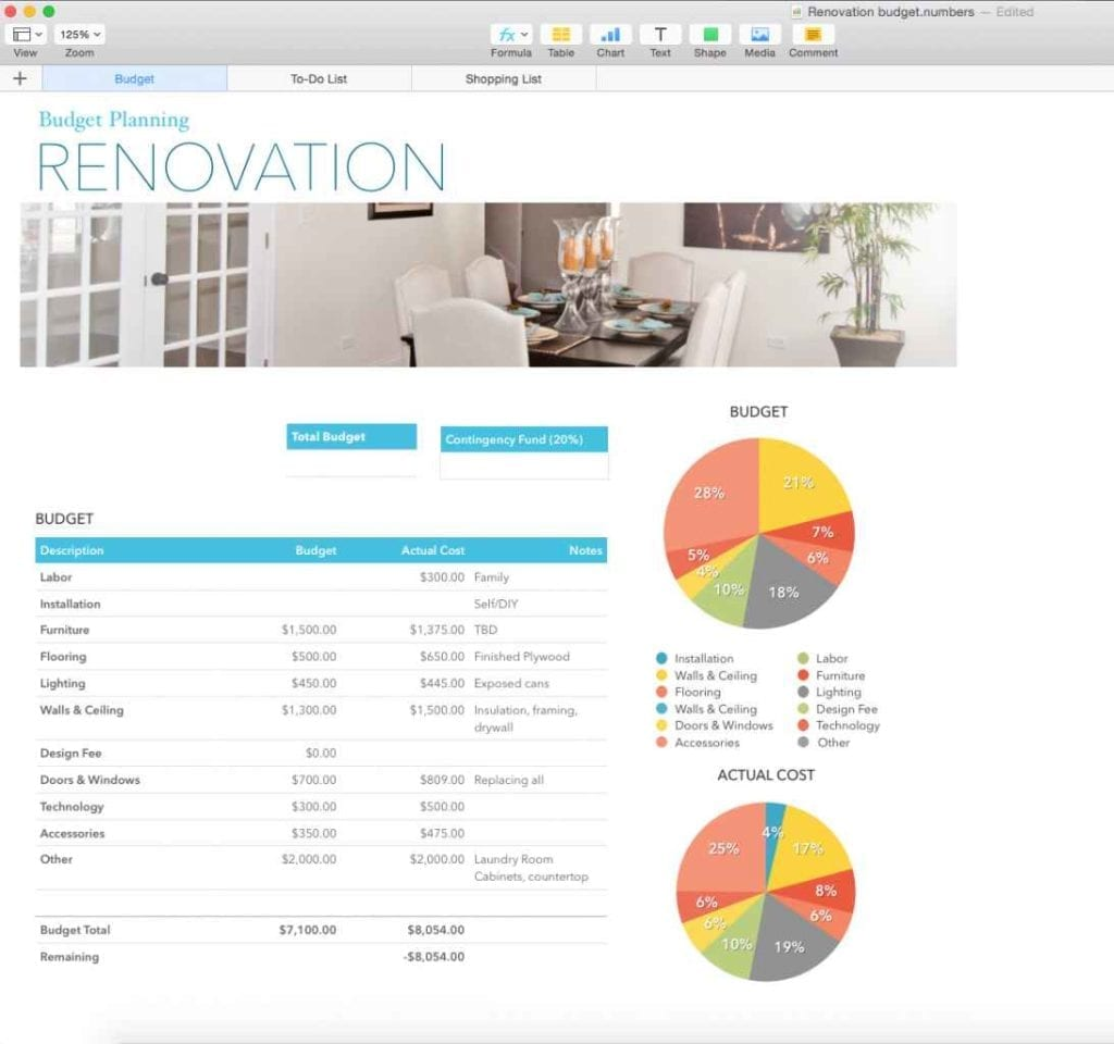 Renovation Budget Planner Template