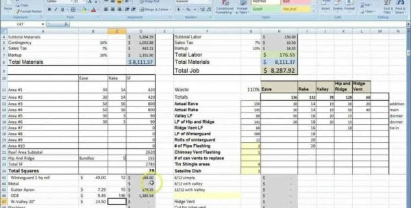 Renovation Cost Spreadsheet Template