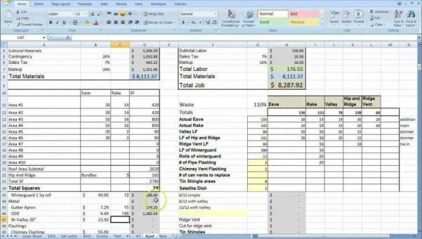 Renovation Cost Spreadsheet Template