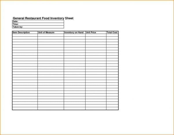 Restaurant Inventory Spreadsheet Excel