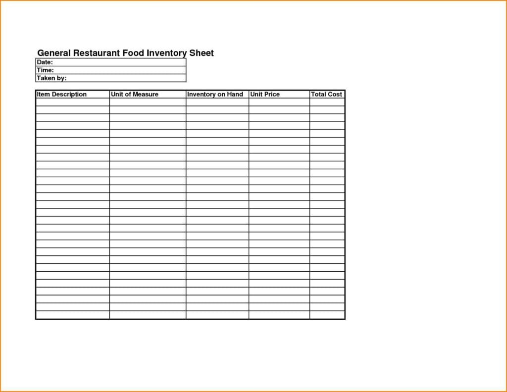 Restaurant Inventory Spreadsheet Excel