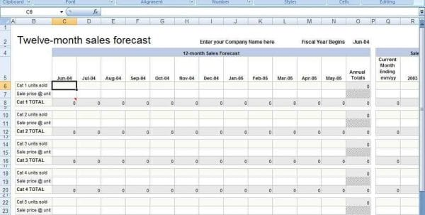 Sales Forecast Excel Template
