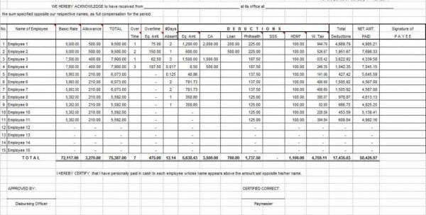 Sample Balance Sheet Excel