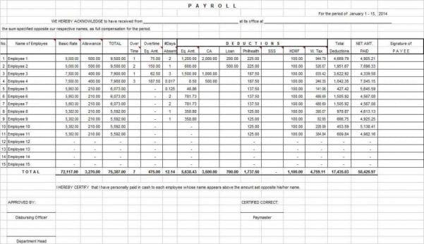Sample Balance Sheet Excel